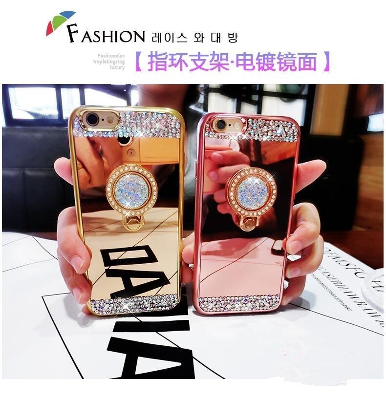 Роскошные Для женщин алмаз зеркало Телефонные Чехлы для iPhone 5 6 6 S 7 7 P чехол с 360 телефон кольцо стенд мягкий чехол для iPhone 6 S Чехол