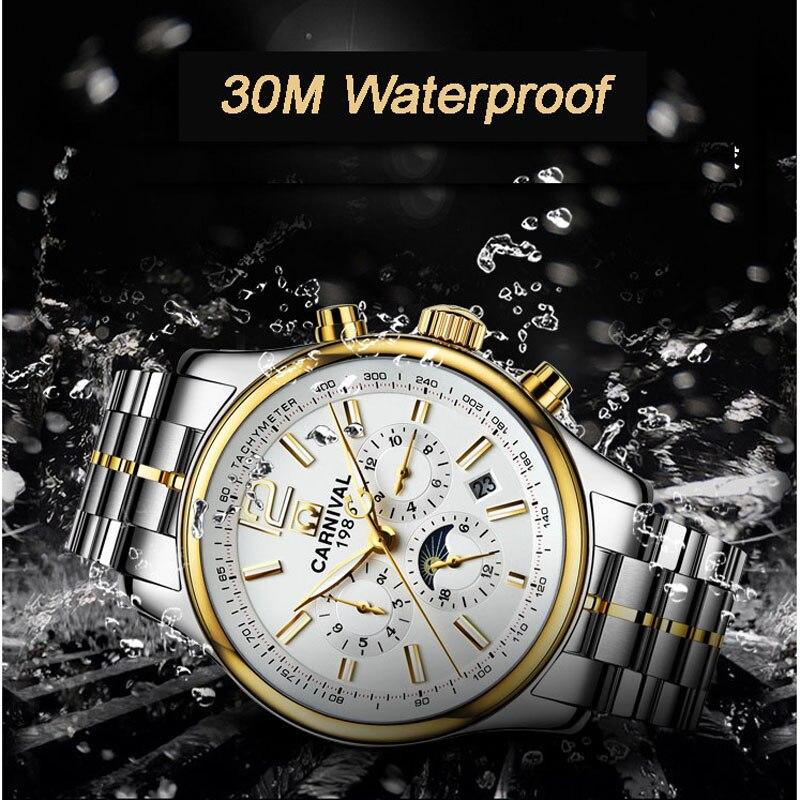 Карнавал Для мужчин часы автоматические механические брендовые роскошные часы Для мужчин сапфир reloj hombre Водонепроницаемый светящиеся стре...