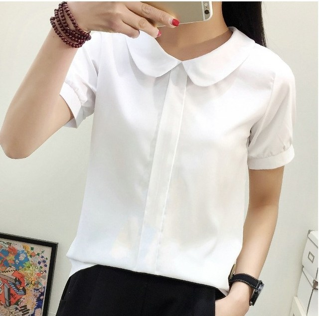 Peter Pan Collar Korean Japanese Style School Uniform  Casual Solid Office Lady Shirt