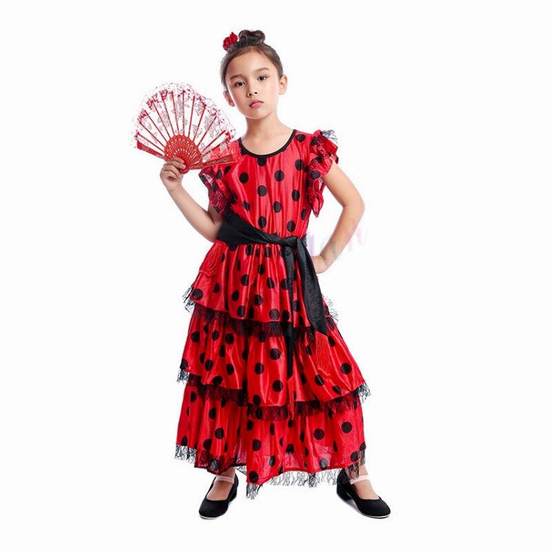 Girls Spanish Dress Flamenco Child Black Blue Fancy Dress Costume Book Day NEW