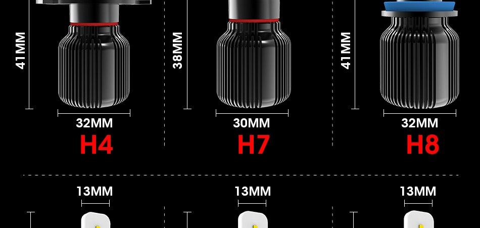 16 hlxg CSP Chip H8 H9 h11 led fog light Dual Hi Lo Beam Bulb 9005 HB3 HB4 H4 H7 led lamp for auto 6000K 8000LM 40W source 12V 24V