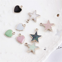 New Trendy 50PCS Love Heart Cute Glitter Stars Pendant Charms DIY Jewelry Ornament Accessories Gold Tone