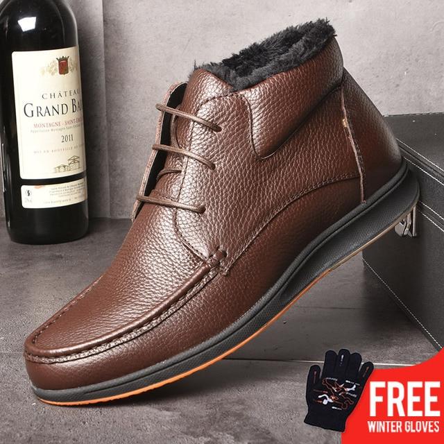 OSCO Marke Winter Stiefel Männer Echte Leder Mode Stiefeletten Flache Schuhe Männer Hohe Qualität Mit Fell Super Warm Schnee stiefel