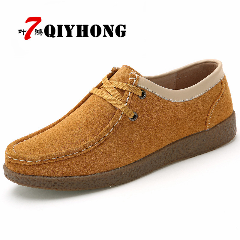 2018 Spring Women Casual Shoes Leather Suede Flats Oxford Shoes For Women Sneakers Shoes Ladies Lace Up Loafers Shoes Size:35-41
