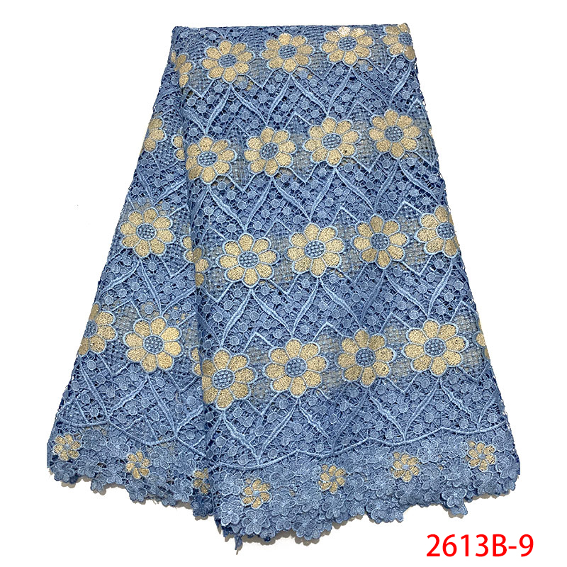Latest African Lace Fabrics Guipure Lace Fabric Emboridery White Guipure Cord Lace With Stones For Party Dresses KS2613B-9