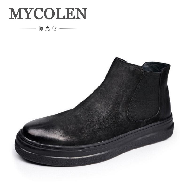 MYCOLEN New Winter Cowhide Genuine Leather Shoes Men Ankle Boots Leisure Flat Boots Comfortable Men Boots Sapatos Masculino бриджи balatt бриджи