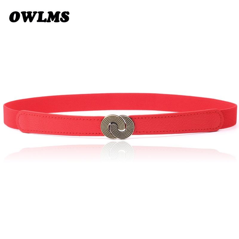 New Fashion Cummerbunds Black Red Vintage Double Spiral Buckle Elastic Thin Cummerbund Dress Waist Belt Female Women Accessories