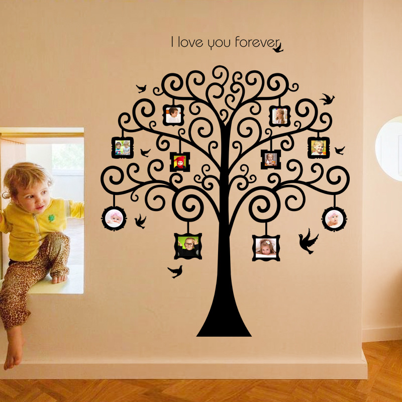 I Love You Forever Huge Family Tree Photo Frame Birds Wall Stickers