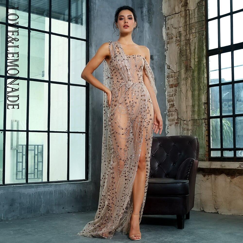 Love&Lemonade   Gold  Cross Cut Out Straps Glitter Glued Material Long Dress LM1361