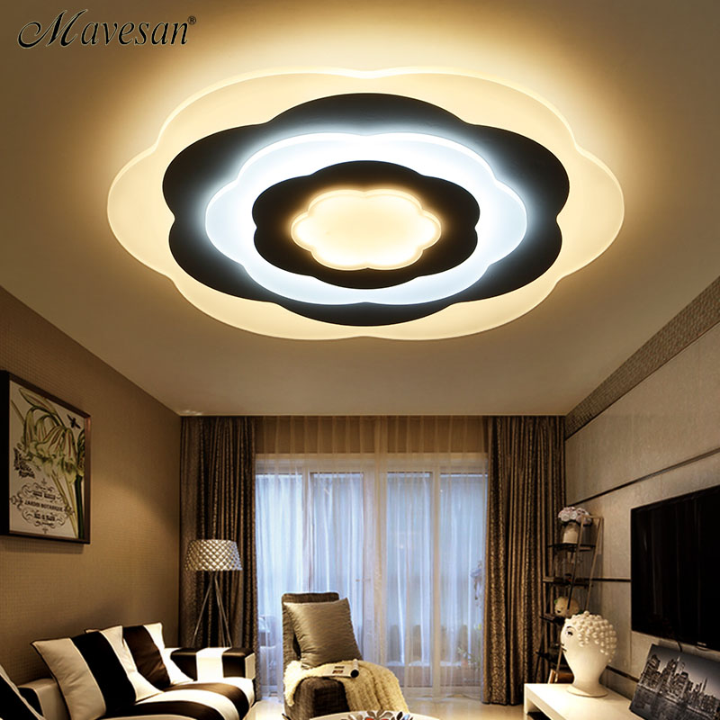 Mavesan Led Ceiling Lights For Indoor plafond led flower Ceiling Lamp Fixture For Living Room Bedroom Home Lighting Fixtures noosion modern led ceiling lamp for bedroom room black and white color with crystal plafon techo iluminacion lustre de plafond