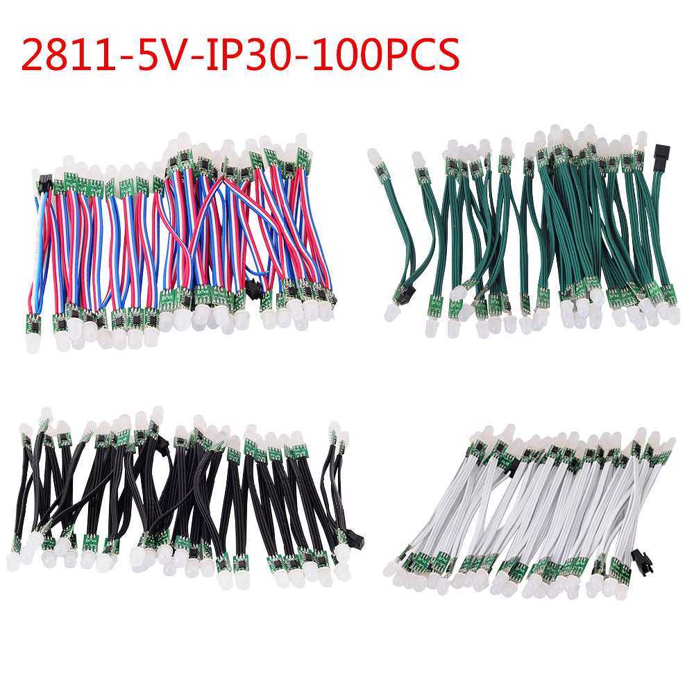 100pcs 9mm WS2811 LED Module,Black/Green/White/RGB Wire,2811 IC RGB Digital Led Pixel Module,Addressable Full Color,IP30,DC5v