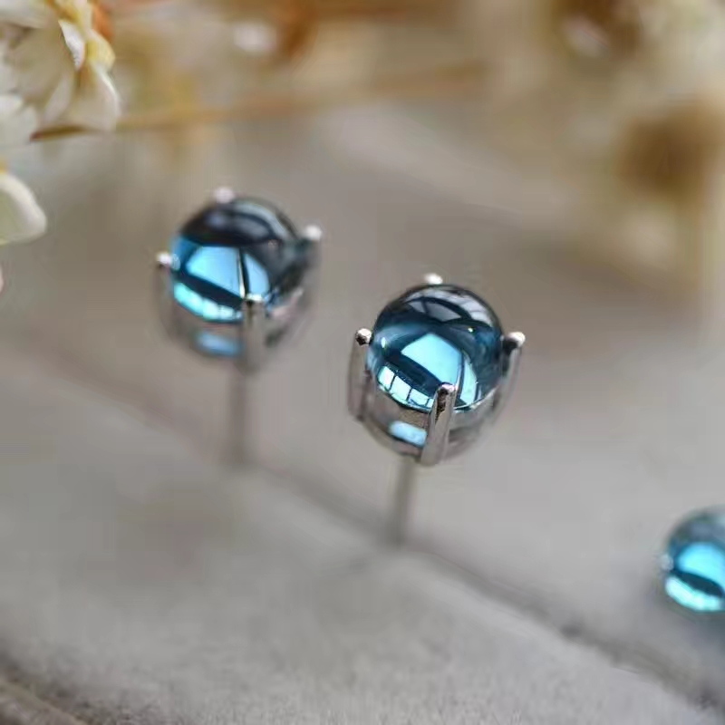 US $39 56 14% OFF|natural blue topaz gem stud earrings Natural gemstone  earrings Elegant small bubble round S925 silver women Office gift  jewelry-in