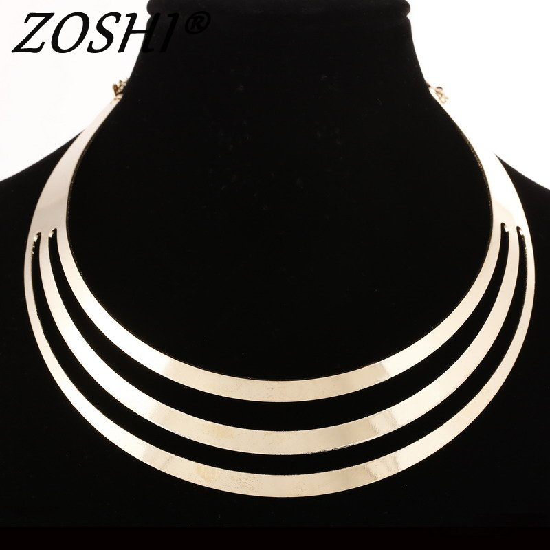 Gold Silver Choker Necklaces Women Gorgeous Metal Multi Layer Statement Bib Collar Necklace Fashion Jewelry Accessories Hot Sale