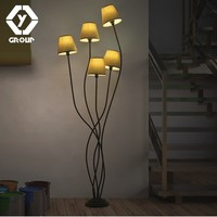 OYGROUP 5 Heads Fashion Floor Lamp with Brown E14 Lampshade Elegant Branch Lampstand Floor Lighting for Home Hotel Bar Office