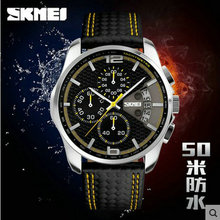 Skmei fashion classic business and leisure men waterproof leather multi function Stop Watch Watch calendar pointe