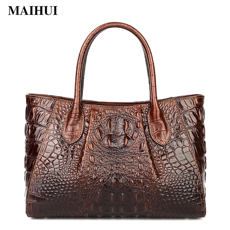 Maihui women leather handbags high quality woman shoulder bags cowhide top-handle new genuine leather alligator vintage tote bag woman genuine leather handbag large cowhide handbags big tote high quality women s messenger bags shoulder bag