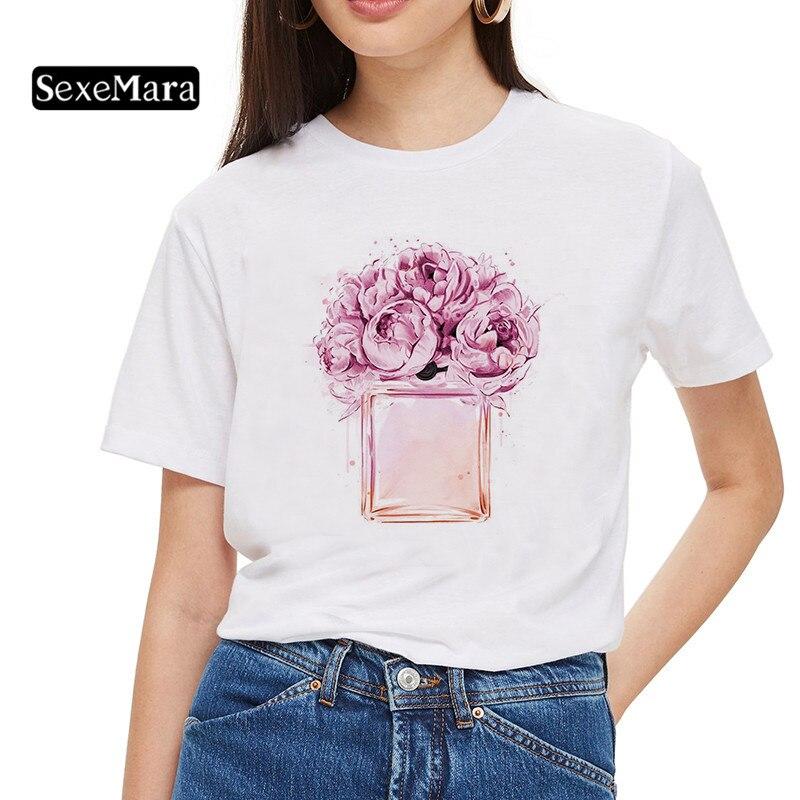 New tshirts cotton women Fashion female T-shirt with Pink Rose Perfume Print harajuku kawaii graphic t shirt women Gift