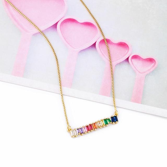 OCERIO CZ Rainbow Necklace...