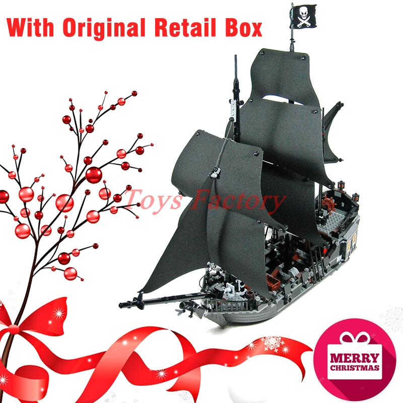 Christmas Gifts With Original Retail Box LEPIN 16006 Pirates of the Caribbean The Black Pearl Ship Building BlocksToys MOC 4184 lepin 16006 804pcs building bricks pirates of the caribbean the black pearl ship model toys compatible legoed
