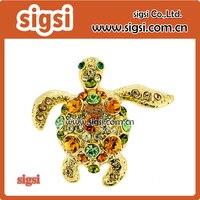 Women's Big Crystal cute Turtle Pin Brooch Pin vintage Rhinestone Crystal tortoise animal hijab pin Brooch