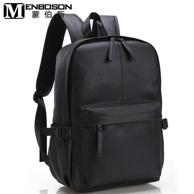 Men Black Travel Leather Backpack Male School