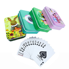 New Top Quality Tinplate Box PVC Bridge Poker Waterproof Plastic Texas Hold'em Playing Cards Creative Cartoon Pattern Game Gifts new high quality tinplate box pvc baccarat texas hold em poker waterproof plastic playing cards creative pattern gift board game