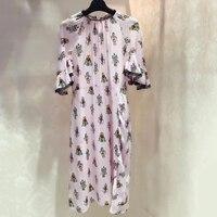 Runway Dresses 2017 Women High Quality Print Dress Short Sleeve Pink Summer Dress