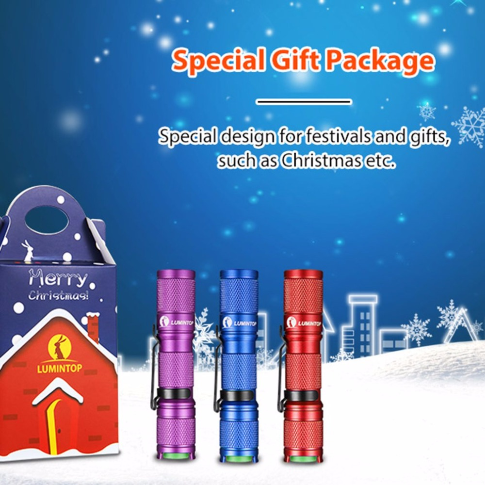 LUMINTOP Christmas Version Tool AA Battery Powered Keychain Mini Flashlight With Reversible Steel Clip XP-G2 LED Torch Light who 2 aa powered hair clipper with accessories set