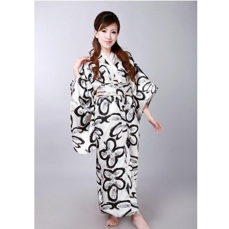 Free Shipping Black White Vintage Japanese Women's Silk Satin Kimono Mujeres Quimono Yukata Evening Dress Flower One Size