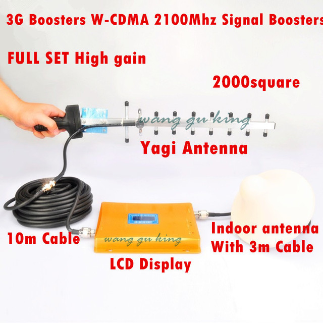 Conjunto completo Display LED 3G Repetidor 2100 MHz W-CDMA UMTS Repetidor 3G Amplificador de Sinal De Antena 2G 3G Telefone Celular Impulsionador conjuntos