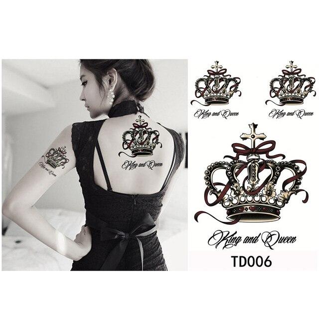 52b8859f8f8a4 1pcs Big Crown Tatto Stickers Sexy Waterproof Temporary Tattoo Sticker Body  Art Painting Decoration Fake Tattoos for Women Girl