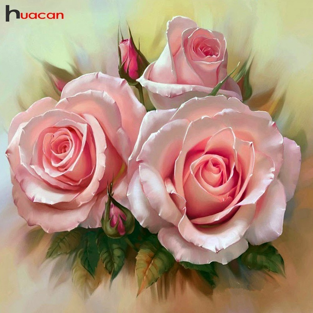 HUACAN Diamond Embroidery Rose 5D Diamond Painting Cross Stitch Flower Scenic Full Square Home Decor Picture Of RhinestonesHUACAN Diamond Embroidery Rose 5D Diamond Painting Cross Stitch Flower Scenic Full Square Home Decor Picture Of Rhinestones