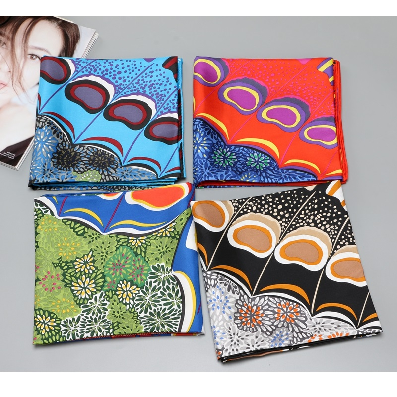 Hand Rolled Edges Women 100% Silk Scarf Wraps 35