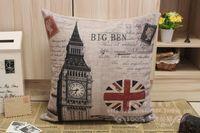 London gối bìa, sáng tạo Retro Poster Người Anh lá cờ lớn ben union jack ném pillow case pillowcase bán buôn