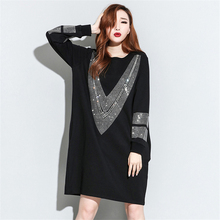 [XITAO] 2016 autumn Europe fashion women O-Neck loose black dress casual female long sleeve straight above knee dress ZA004