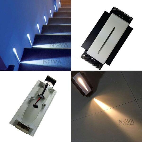 2 stucke rechteck treppenlicht metall wand box schmalen strahl led einbau linear treppen beleuchtung 1 watt