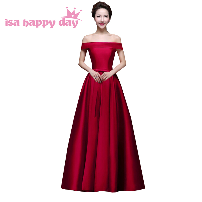 brides maids fashinable long royal blue satin occasion new in   bridesmaid     dresses   girls burgundy sexy   dress   2019 H2904