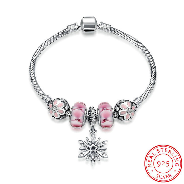 Robira SnowFlake Hanging Charm Bracelet For Women Pink Crystal Beads fit Pandora Bracelets & Bangles DIY Fine Jewelry