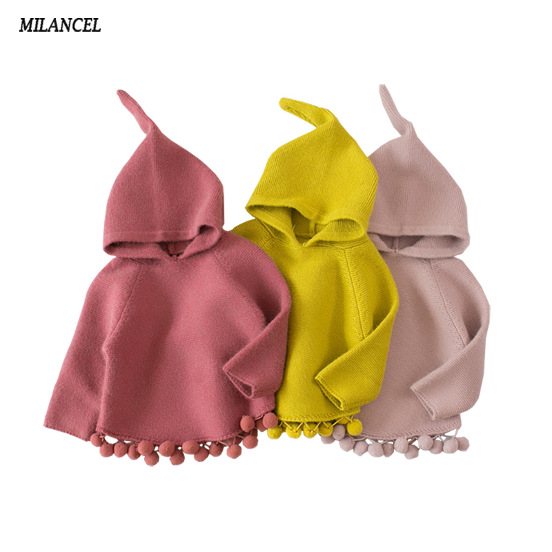 Milancel 2018 Children's Sweaters Hooded Girls Knitted Sweater Autumn Winter Toddler Sweaters Casual Kids Knitwear Kids Clothes