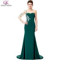 Grace karin בת ים שמלות הערב ארוך שמלות ערב שרוול אפליקציות שמלות רשמיות vestidos דה festa כהים ירוקה שמלת הערב