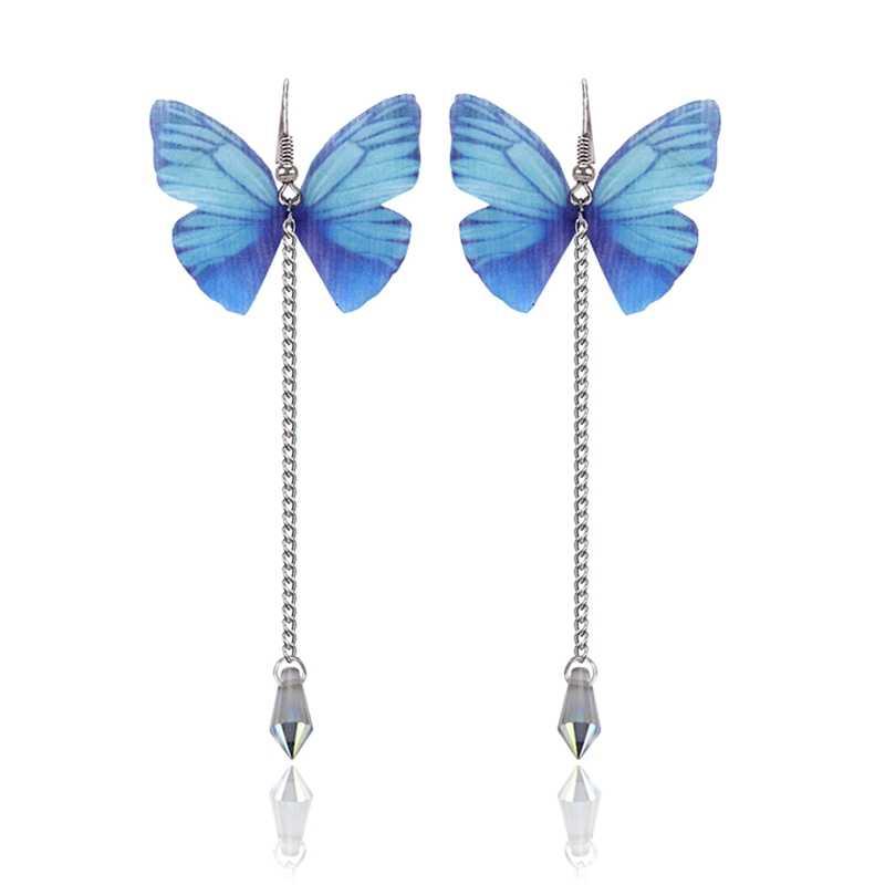 2018 nouveau papillon longue boucle d'oreille pour les femmes perle délicate mignon boucles d'oreilles mode coréenne bijoux gracieux Joker dame accessoires