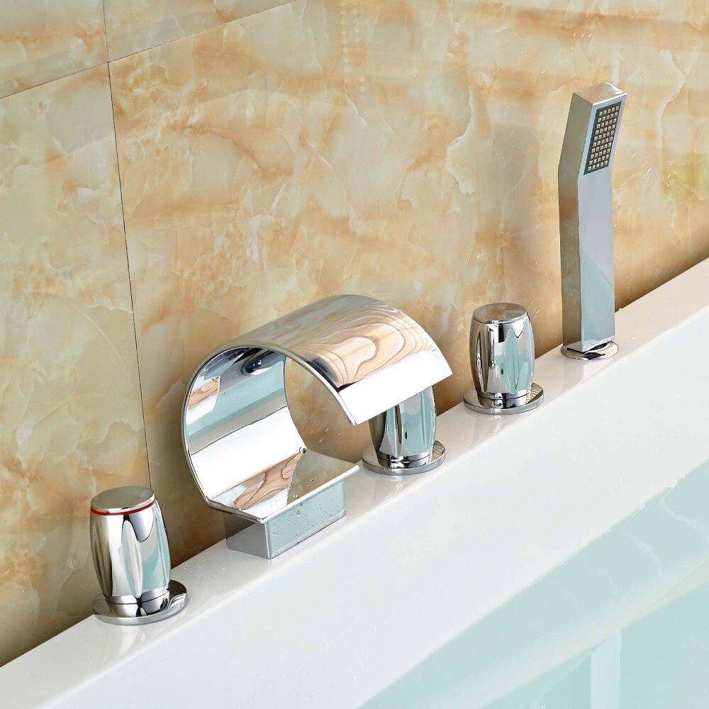 Widespread Waterfall Bathtub Faucet Roman Tub Mixer Taps with ABS Handshower Chrome Finish стоимость
