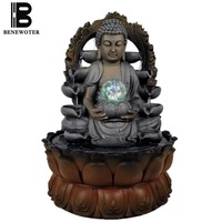 110V 220V Auspicious Buddha Statue Monk Figurine Flowing Water Fountain Desktop Decoration Water Feature Feng Shui Lucky Gifts