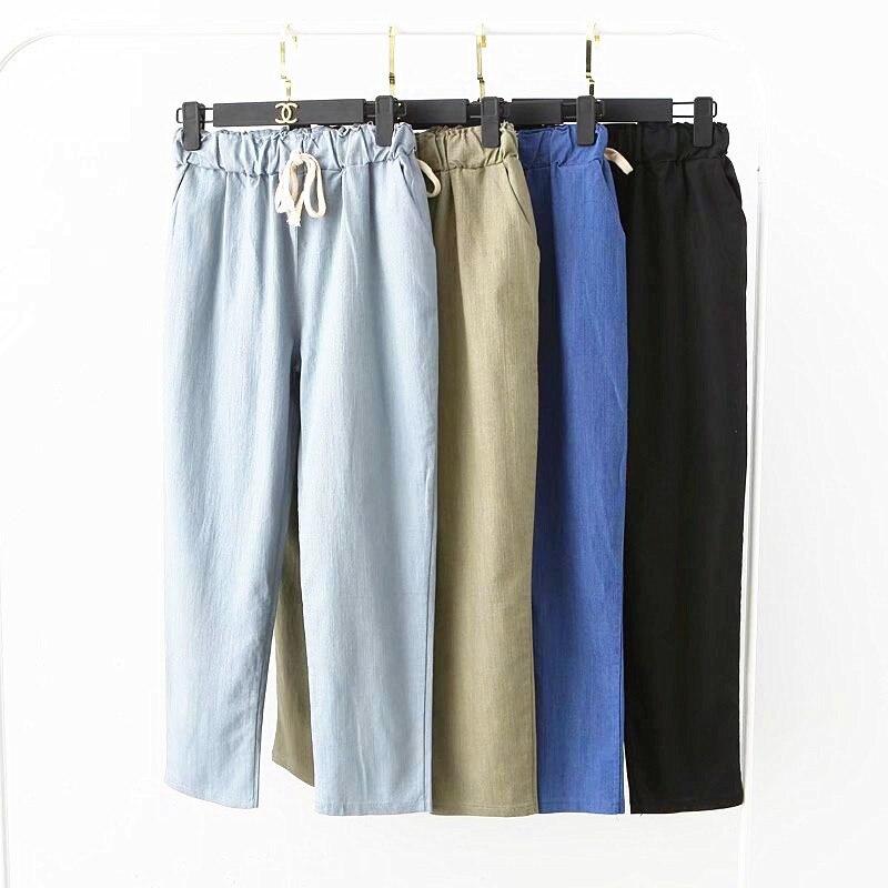 Autumn Slim Elastic Waist Harem Pant 2019 Spring Casual Ankle-length White Pants Cotton Loose Hallen Trousers Pantalon Femme