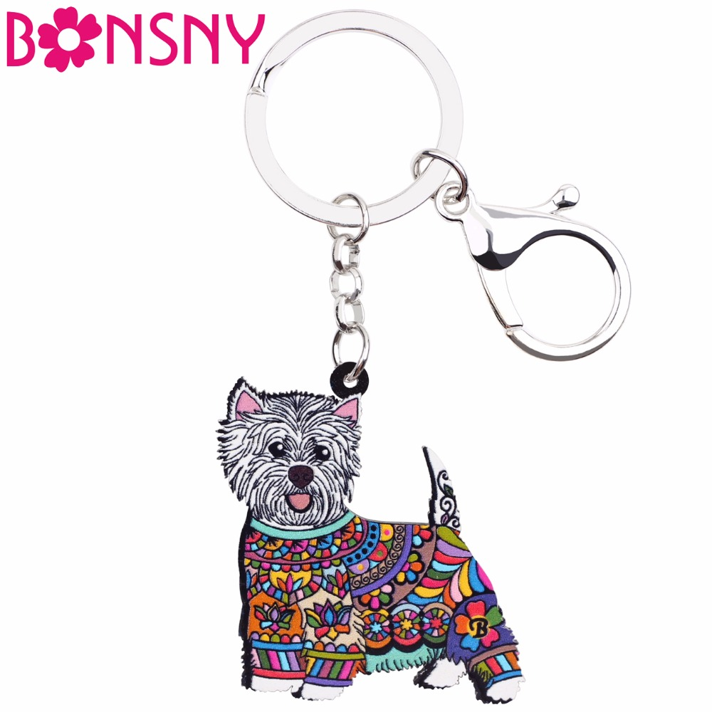 Bonsny Acrylic Anime Jewelry West Highland White Terrier Keyring For Women Girl Bag Car Key Handbag Wallet Charms Keychains GIFT