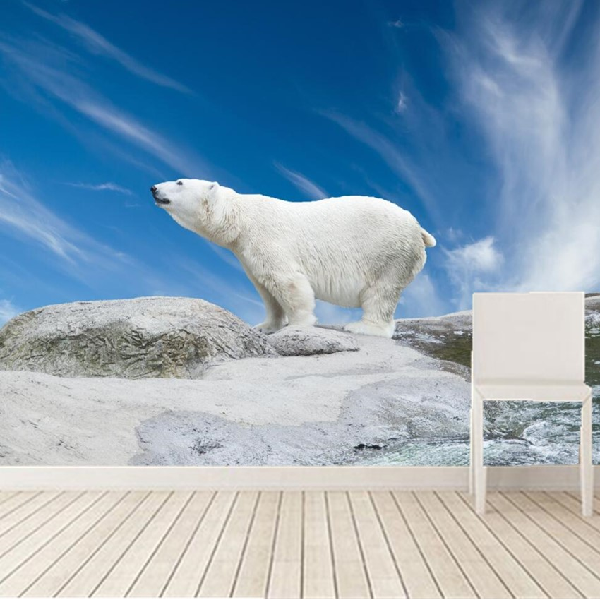 Custom 3D mural,Bears Polar Sky Animals Nature papel de parede, living room sofa tv wall children bedroom large wallpaper murals