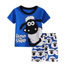 Baby boy clothes cotton short-sleeved sheep home childrens clothing spring and summer suits girls cartoon pajamas