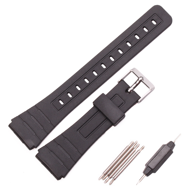 лучшая цена Silicone Watchband Women Men Black Sport Diving Watch Band Strap With Stainless Steel For Casio G-Shock 16mm 18mm 20mm