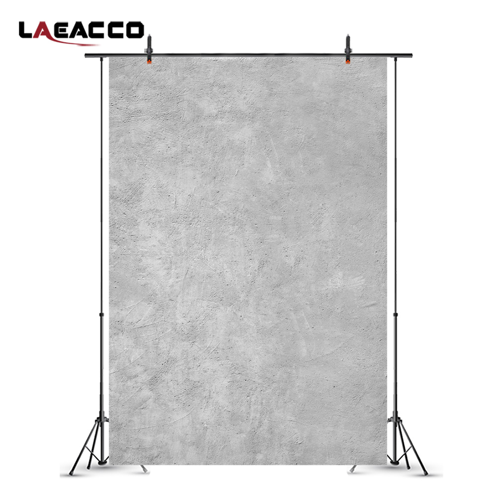 Laeacco Solid Gray Cement Wall Baby Newborn Photography Backgrounds Vinyl Custom Seamless Digital Backdrops For Photo