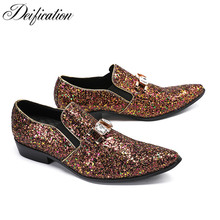 Deification Moccasins Hombre Luxury Bling Sequins Mens Loafers 2018 Slip-On Casual Male Flats Fashion Mens Party Wedding Shoes deification luxury mens shoes casual 2018 moccasins slip on loafers men fashion italian embroidered men s flats male boat shoes